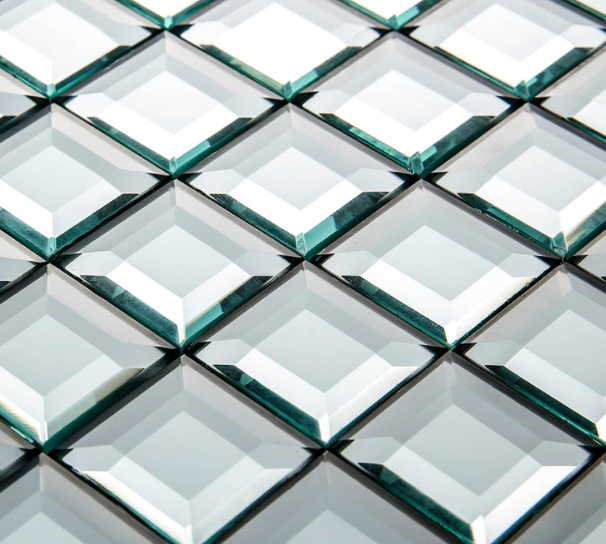 Decourative glass tile wall glass bevelled wall glass for Glass and mirror company